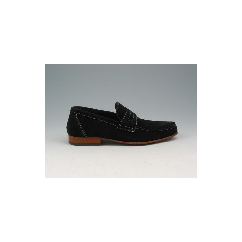 Men's loafer in black suede  - Available sizes:  40, 45, 52