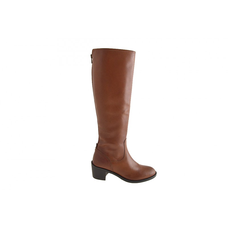 Woman's boot in tan brown leather with zipper heel 5 - Available sizes:  42
