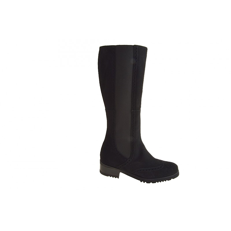 Bota para mujer con cremallera, elastico y punta de ala en gamuza negra tacon 4 - Tallas disponibles:  31, 32