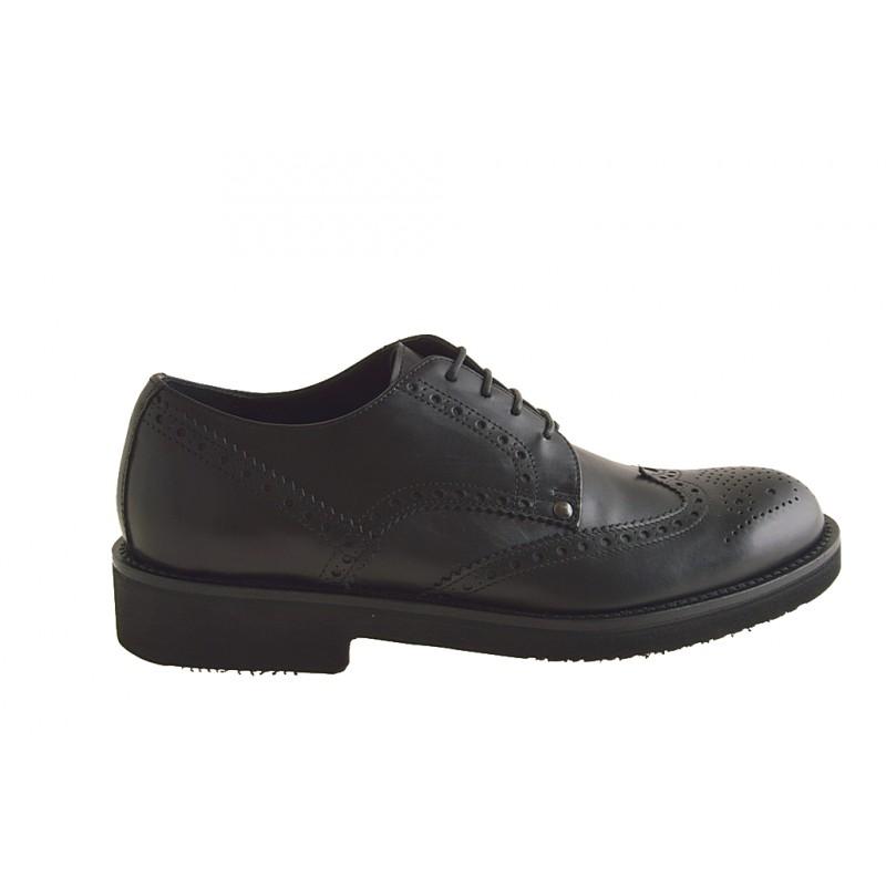 Chaussures derby à lacets avec bout Brogue pour hommes en cuir noir - Pointures disponibles:  50