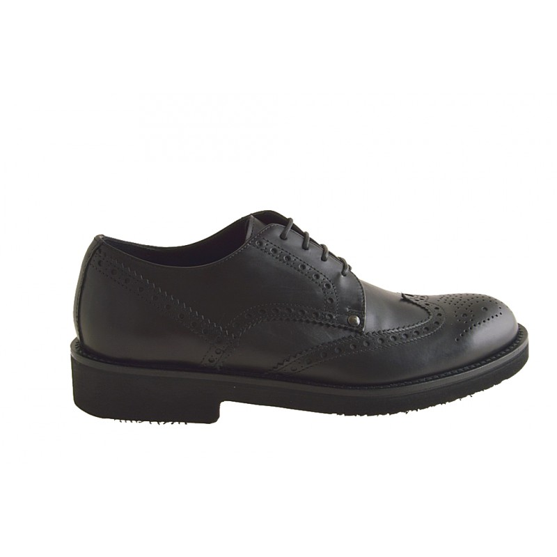 Men's derby shoe with laces and Brogue decorations in black leather - Available sizes:  50