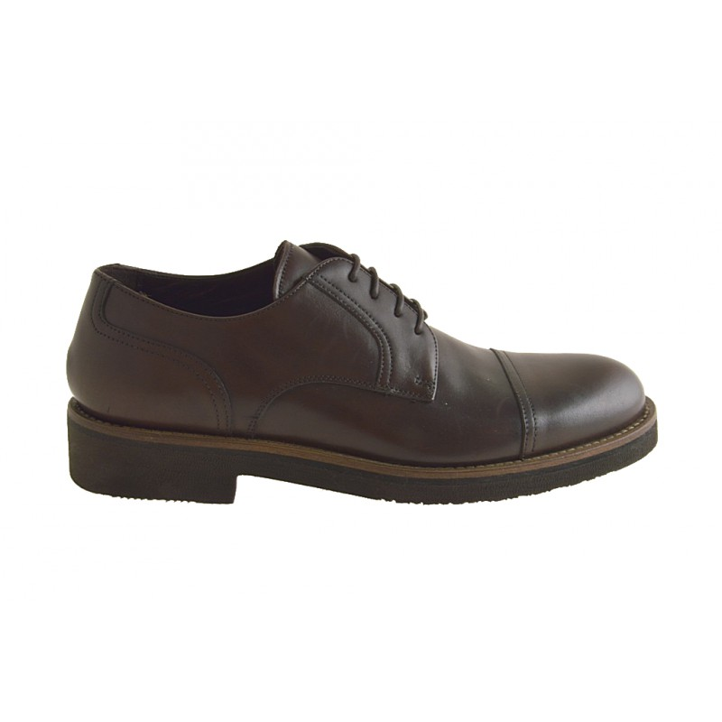 Men's laced shoe with captoe in brown leather - Available sizes:  46, 50, 51