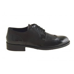 Men's laced derby shoe with wingtip decorations in black leather and patent leather - Available sizes:  36, 49