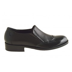 Men's elegant shoe with elastic bands and wingtip in black leather and patent leather - Available sizes:  48, 49, 50, 51