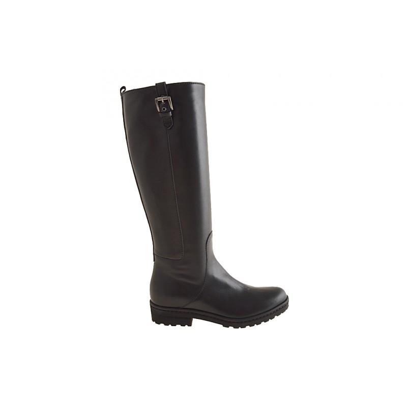 Damenstiefel mit Reißverschluß und Schnalle aus schwarzem Leder Absatz 3 - Verfügbare Größen:  32