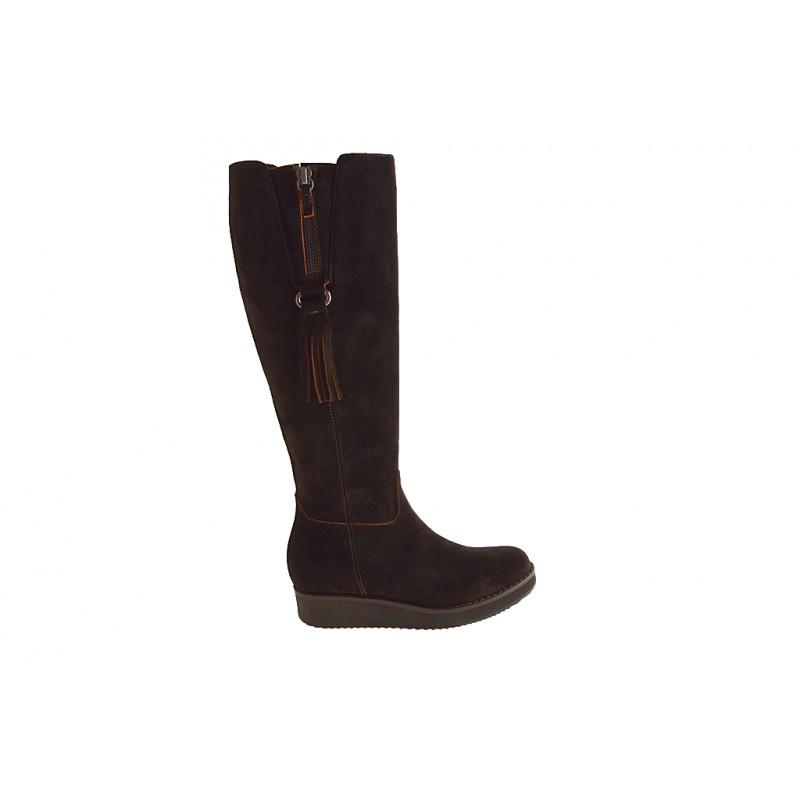 Woman's boot with zippers and tassels in dark brown suede wedge heel 3 - Available sizes:  32, 42