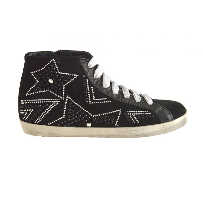 Chaussure haute avec lacets, fermeture éclair et strass en daim noir talon compensé 1 - Pointures disponibles:  32