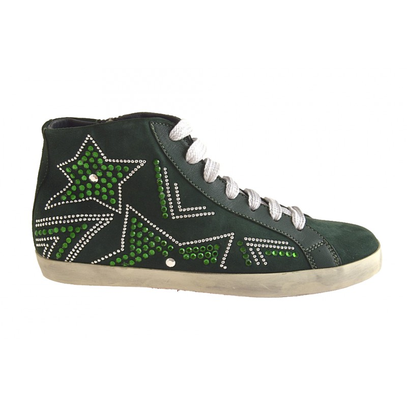 Woman's laced shoe boot with zipper and rhinestones in green suede wedge heel 1 - Available sizes:  32, 33