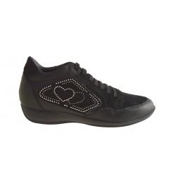 Scarpa chiusa stringata con zeppa e strass in camoscio+pelle nero - Misure disponibili: 42
