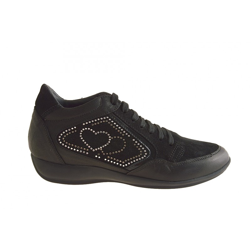Woman's sports shoe with laces and rhinestones in black suede and leather wedge heel 2 - Available sizes:  42