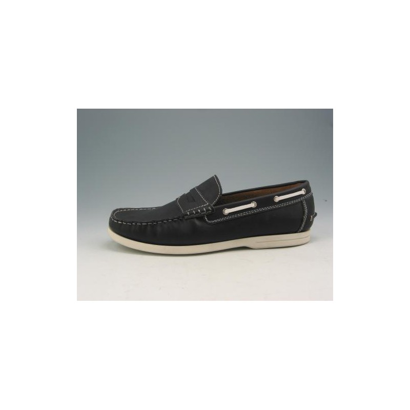 Sportive mocassin in navy leather - Available sizes:  52