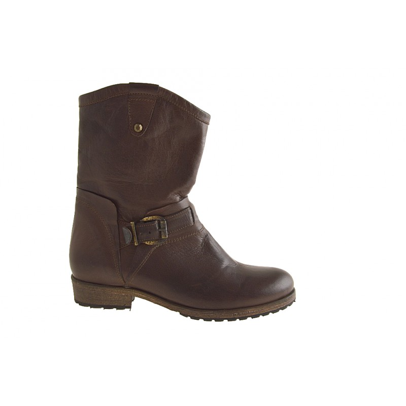Brown leather ankle boot with zipper - Available sizes:  32