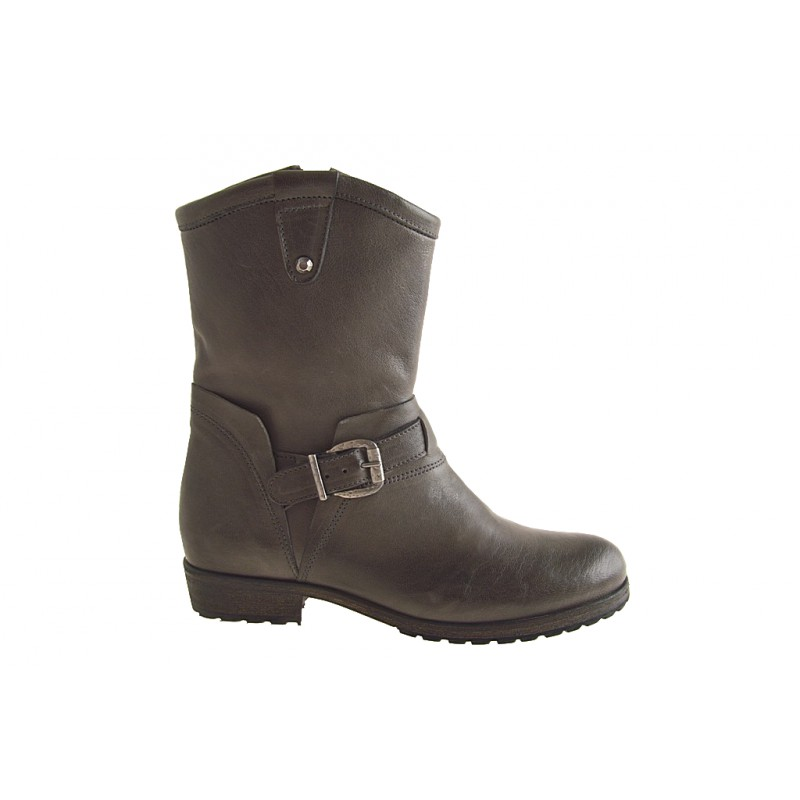 Woman's ankle boot with zipper and buckle in taupe leather heel 3 - Available sizes:  32