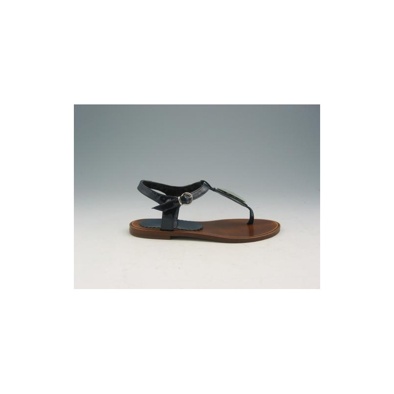 Flipflop sandal in navy patent leather - Available sizes:  31