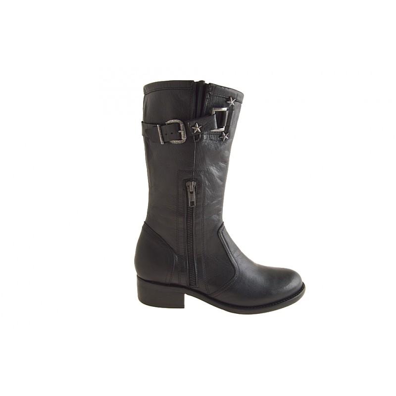 Damenstiefelette mit Reißverschlüßen und Schnalle aus schwarzem Leder Absatz 3 - Verfügbare Größen:  32