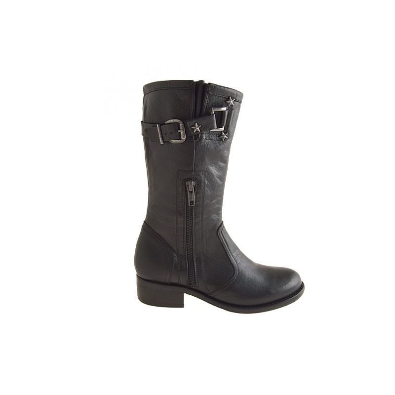 Woman's ankle boot with zippers and buckle in black leather heel 3 - Available sizes:  32
