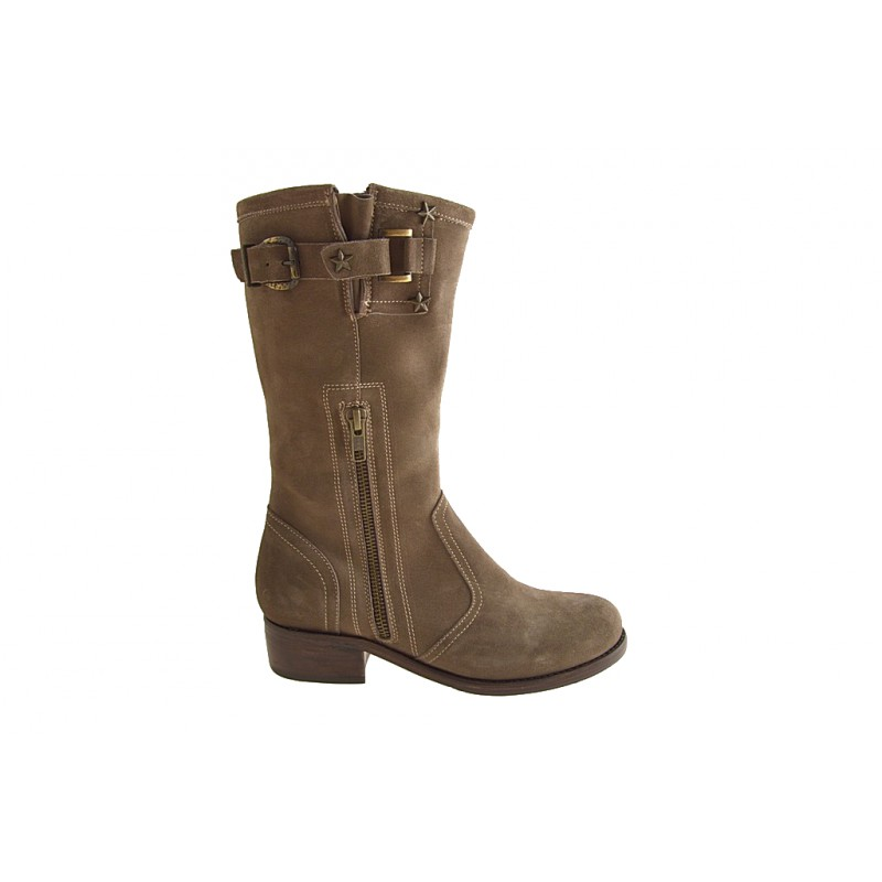 Woman's ankle boot with zippers and buckle in beige suede heel 3 - Available sizes:  32