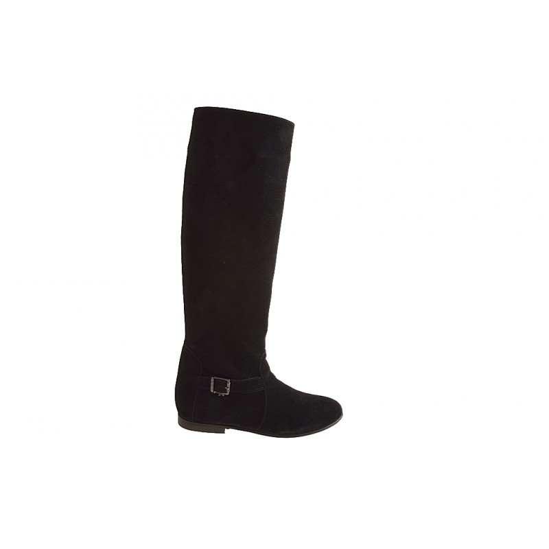 Woman's boot with zipper and buckle in black suede heel 1 - Available sizes:  32, 33