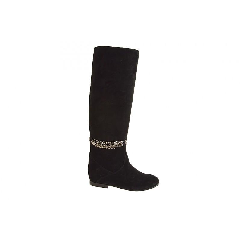 Botas para mujer con cadena en gamuza negra tacon 1 - Tallas disponibles:  32, 33