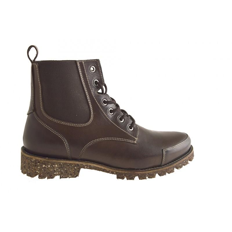 Bottine avec lacets et elastiques pour hommes en cuir marron - Pointures disponibles:  38