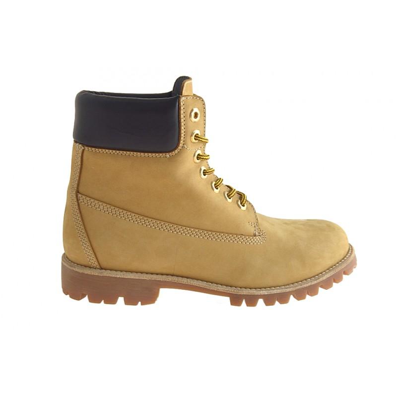 Bottine avec lacets pour hommes en cuir nubuck jaune ocre - Pointures disponibles:  36, 37, 38