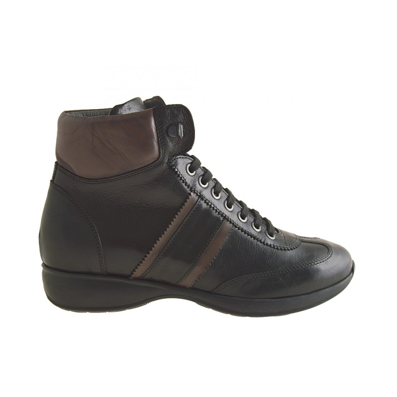 Lace up ankle boot with laces in black leather, brown - Available sizes: 36, 37, 38, 50