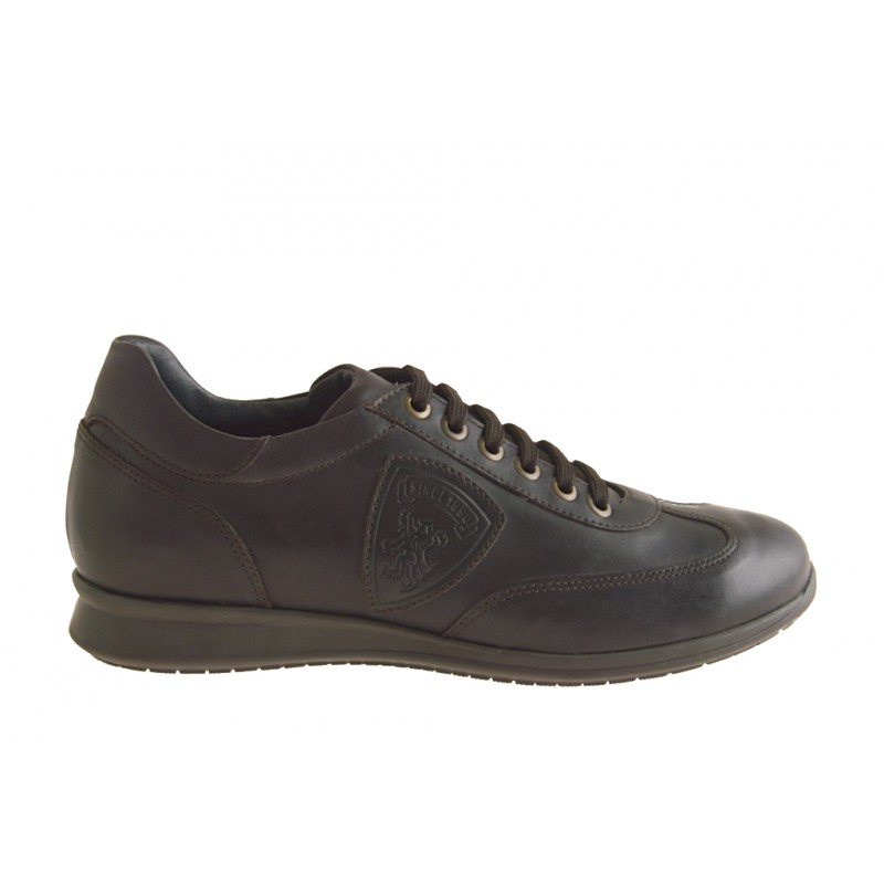 Men's laced sports shoe in dark brown leather - Available sizes:  36, 47