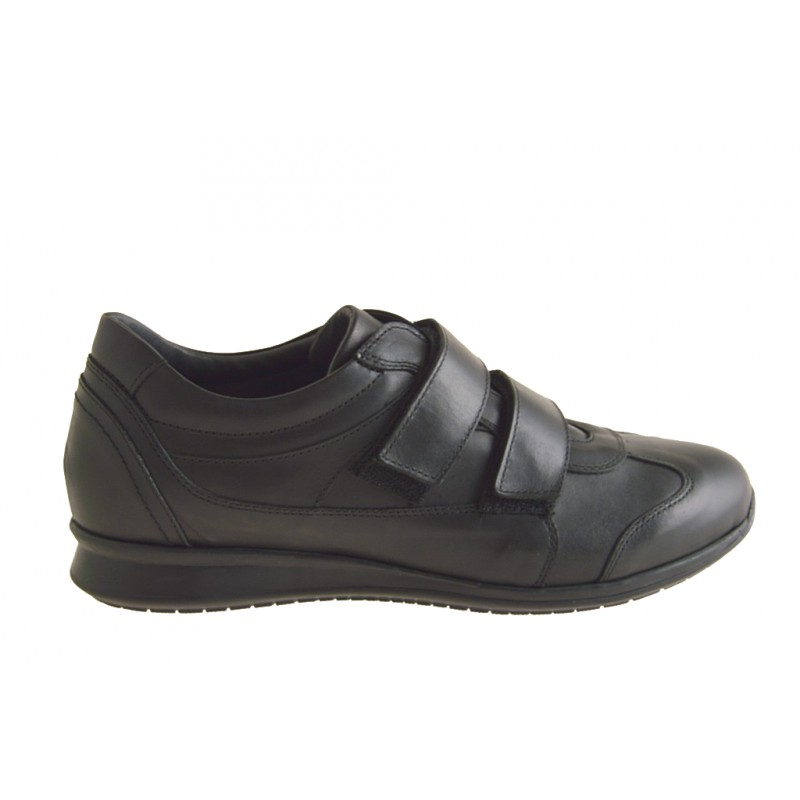 Men's casual shoe with velcro straps in black leather - Available sizes:  37