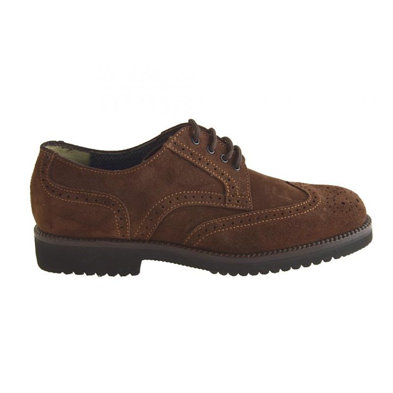 Chaussures fermées avec lacets en suède marron - Pointures disponibles:  36