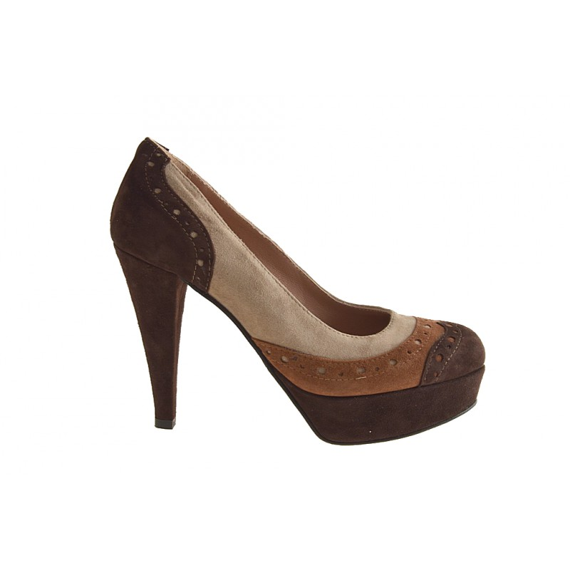 Pumps with platform in black suede brown, rust, beige - Available sizes:  42