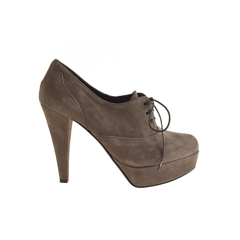 Laced shoe with platform in taupe suede heel 10 - Available sizes:  42