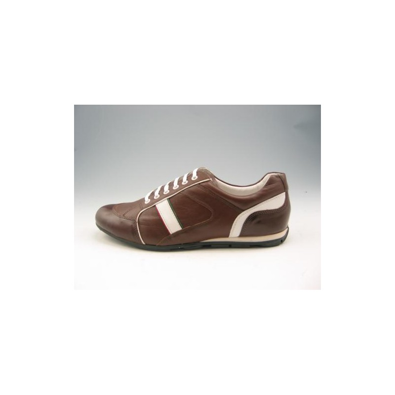Men's sports shoe with laces in brown and white leather - Available sizes:  46