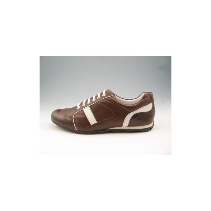 Zapato deportivo con cordones para hombre en piel de color marron y blanca - Tallas disponibles:  46