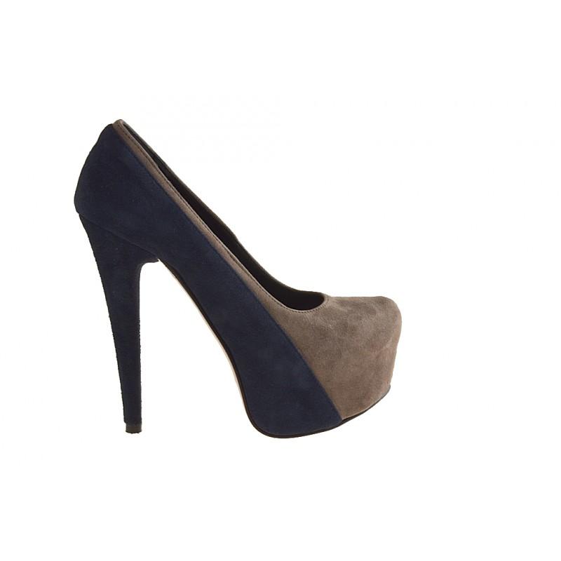 Zapato de salón con plataforma en gamuza azul y gris pardo tacon 15 - Tallas disponibles:  42