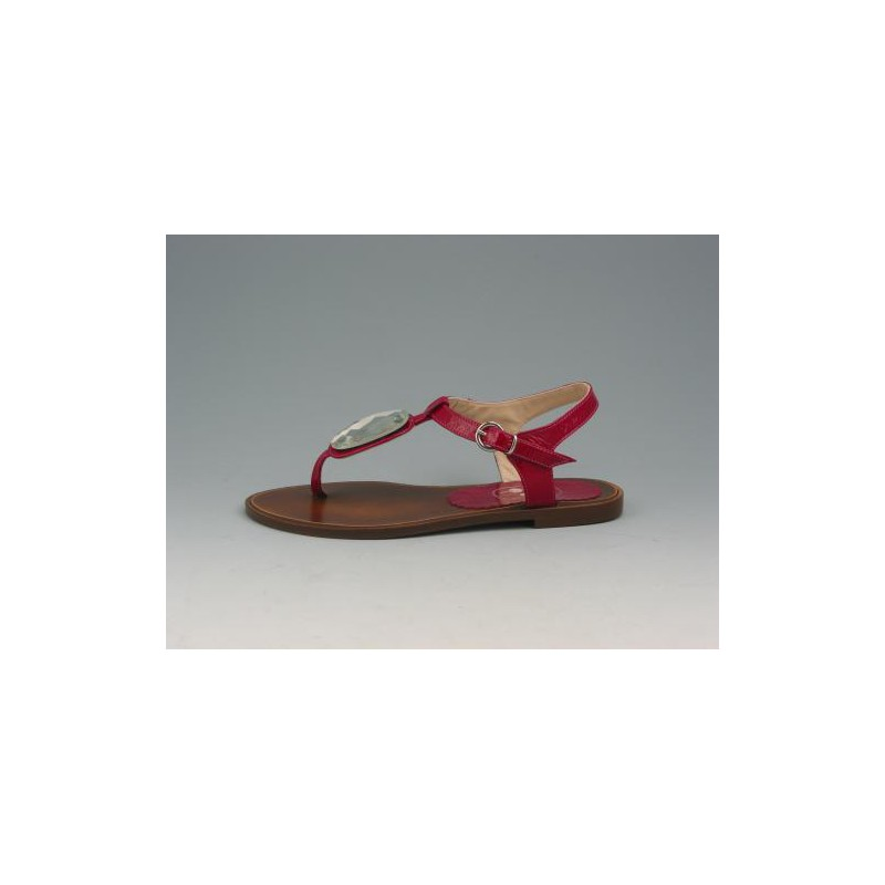 Flipflop sandal in crimson patent leather - Available sizes:  31