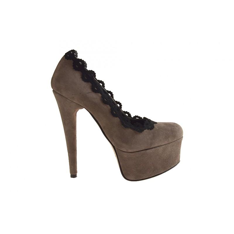 Zapato de salón con plataforma en gamuza gris pardo y negro tacon 15 - Tallas disponibles:  42