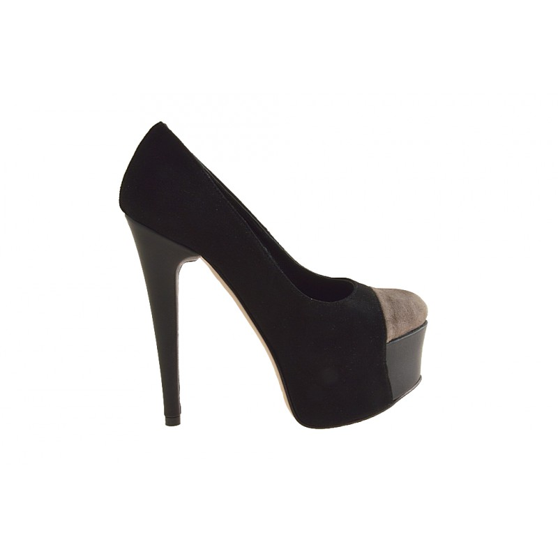 Pump with platform in black and taupe suede heel 15 - Available sizes:  42