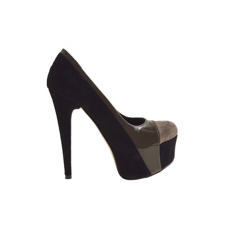 Pumps with platform in black suede, taupe paint - Available sizes:  42, 44