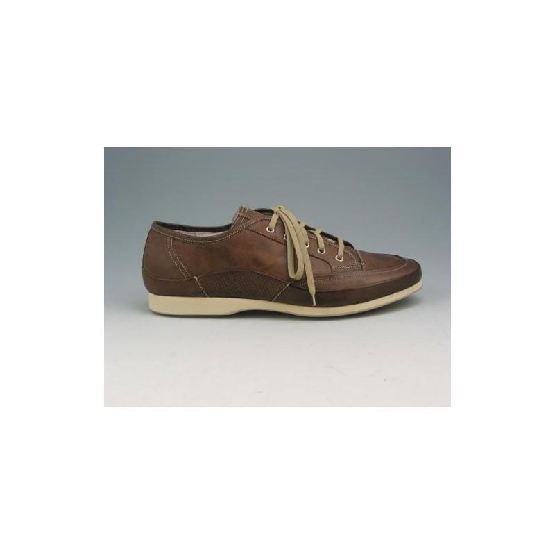 Chaussure sportif à lacets pour hommes en cuir marron - Pointures disponibles:  46