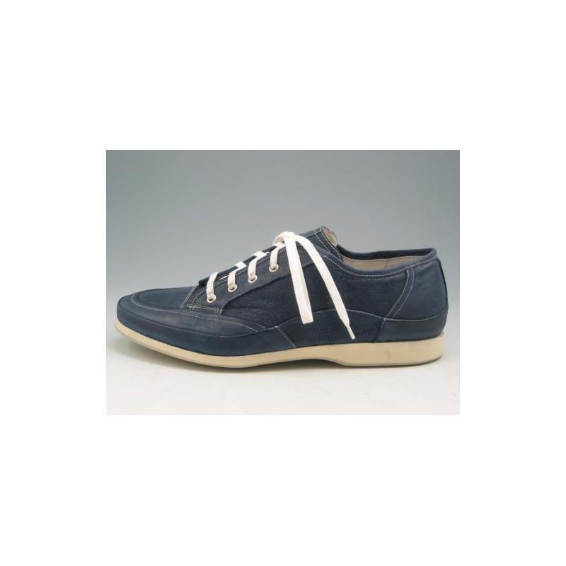 Chaussure sportif à lacets pour hommes en cuir bleu - Pointures disponibles:  46