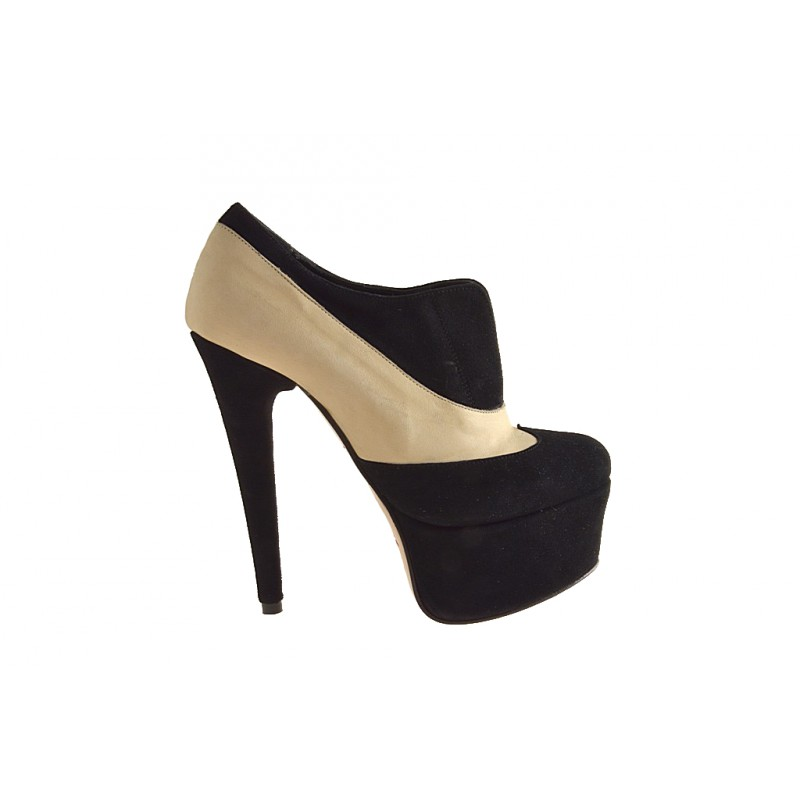 Highfronted shoe with platform in black and beige suede heel 15 - Available sizes:  42