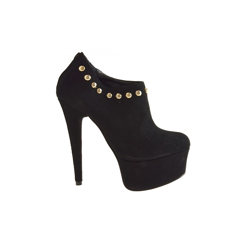 Ankle-high closed shoe with platform, studs and zipper in black suede heel 15 - Available sizes:  42