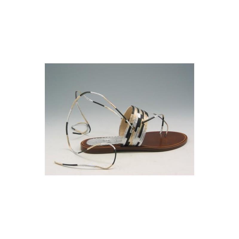 Tong sandale en cuir or, argent et noir multi coleur - Pointures disponibles:  31