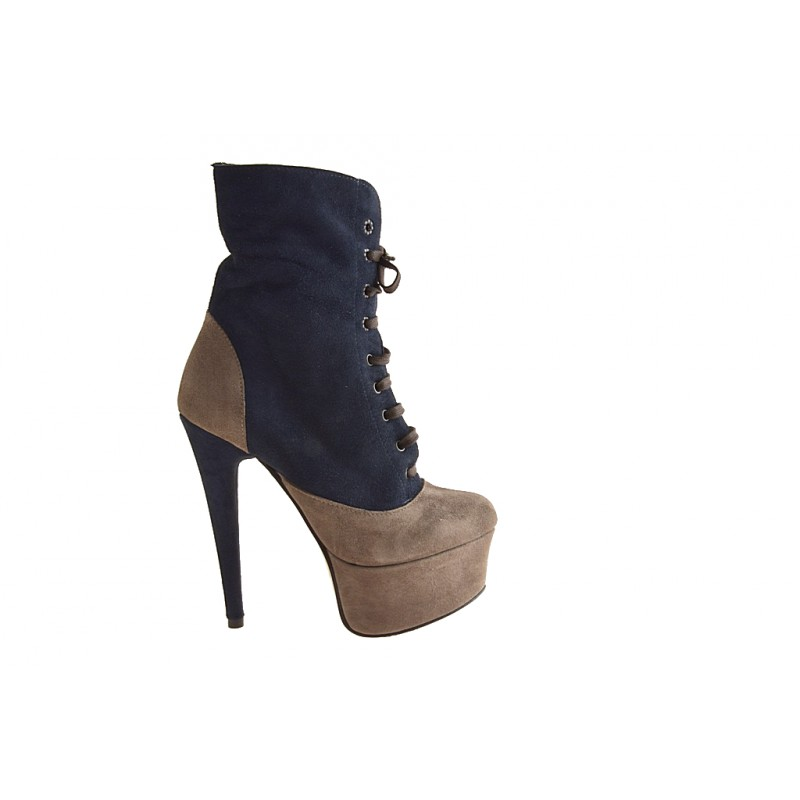 Lace up ankle  boot with platform in taupe suede, blue - Available sizes:  32, 42