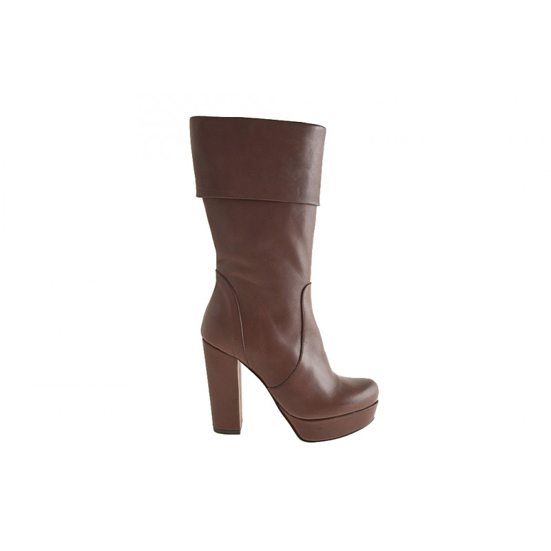 Woman's boot with zipper and platform in brown leather heel 10 - Available sizes:  42