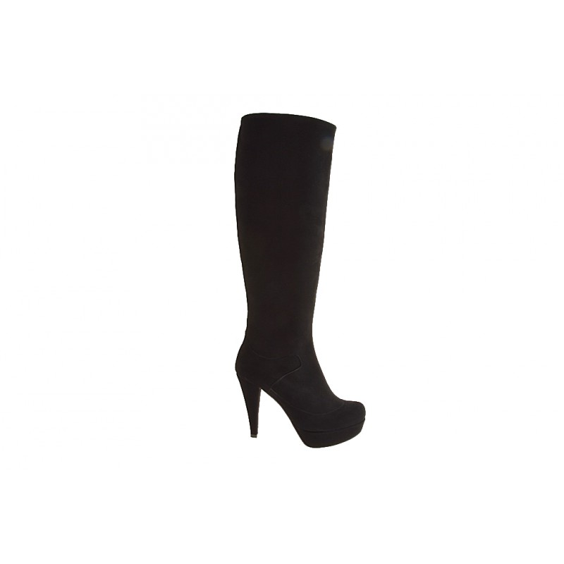 Boot with zip and platform in black suede - Available sizes:  42