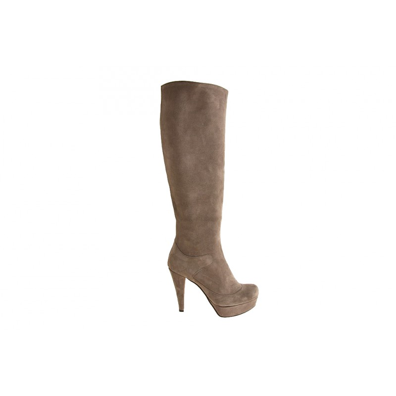Boot with zipper and platform in beige suede heel 10 - Available sizes:  42, 43