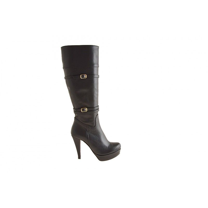 Boot with zip and platform in black leather - Available sizes:  42