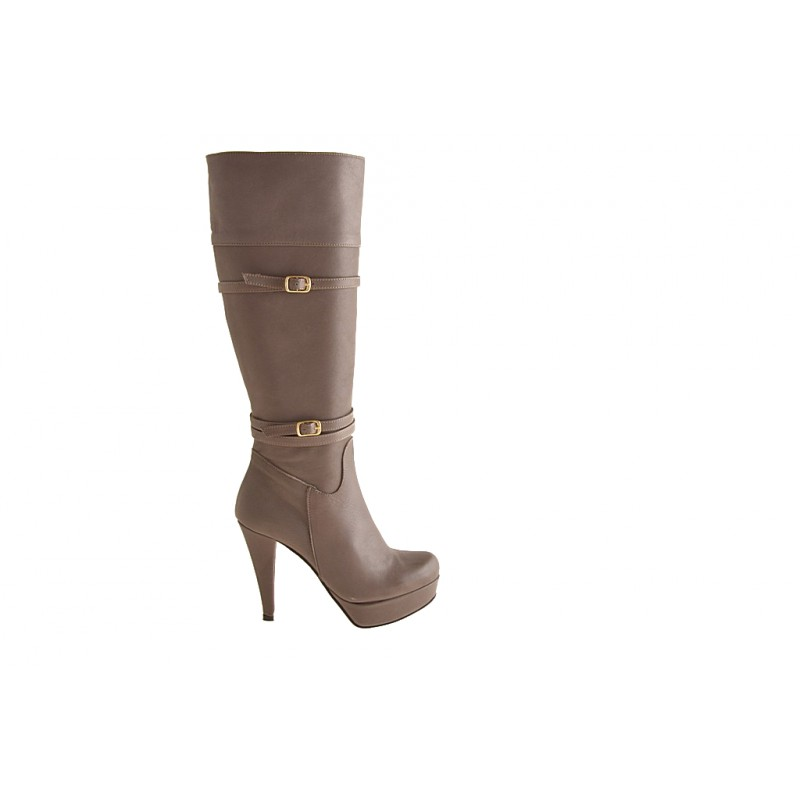 Woman's boot with zipper, buckles and platform in taupe leather heel 10 - Available sizes:  42
