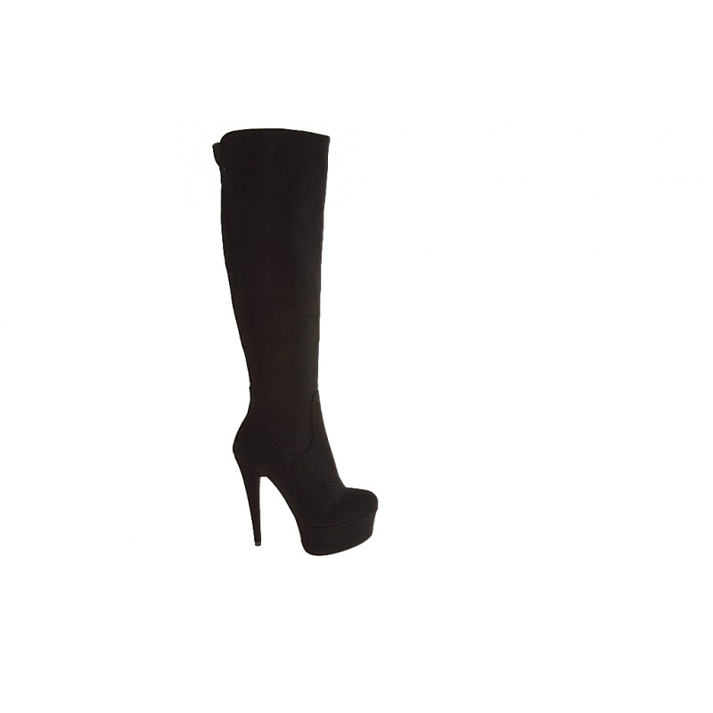 Knee boot with zip and platform in black suede - Available sizes:  42